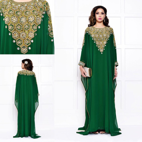 2015 vestidos de noche de moda árabe para musulmanes Arabia Saudita Dubai lujo para mujer cristales baratos lentejuelas verde oscuro vestidos de boda de manga larga