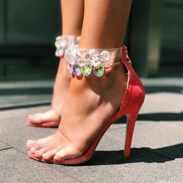 Acquista 2018 Estate Moda Scarpe Donna Sexy Tacchi Alti Sandali Trasparenti Fiori Di Cristallo Strass Sandali Tacchi A Spillo Tacco Donna Scarpe Da