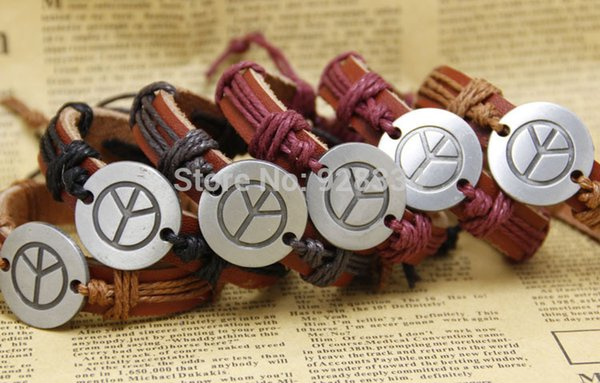 lots Fashion peace Handmade Cheap Price Wholesale adjustable Leather bracelets Braided Bracelets and Bangles men jewelry