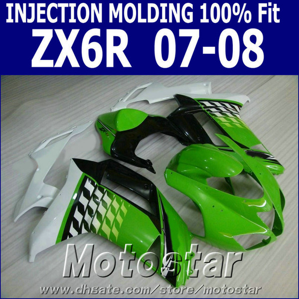 Motorcycle fairing kit for Kawasaki Injection molding Ninja ZX-6R ZX636 07 08 motobike 2007 2008 ZX6R black green white fairings SF48
