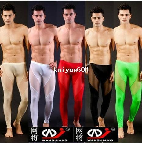 best selling any 1pcs mens see through pants pajamas long pants tight sleepwear sexy Sleep Bottoms for men trunk sleep shorts mesh underwear