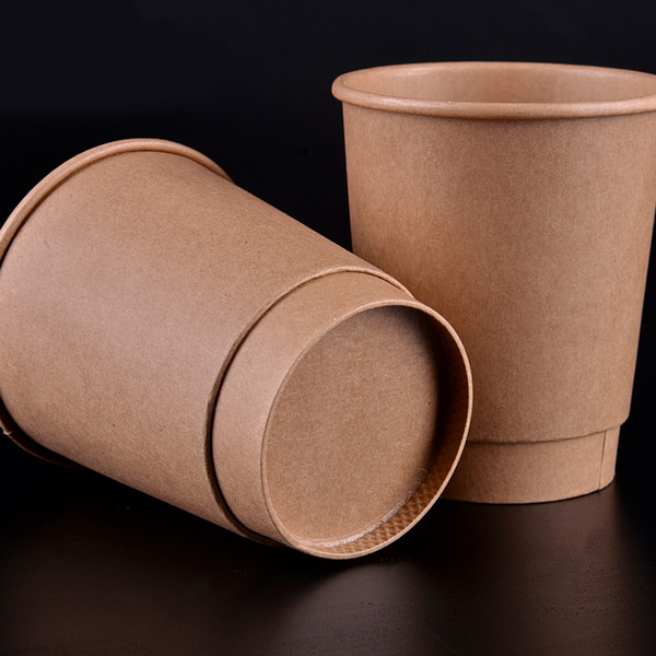 12oz Cafe Restaurant Paper Coffee Cup Disposable Thick Kraft Paper Milk Cup Party Drinking Supplies 100pcs/lot SK753