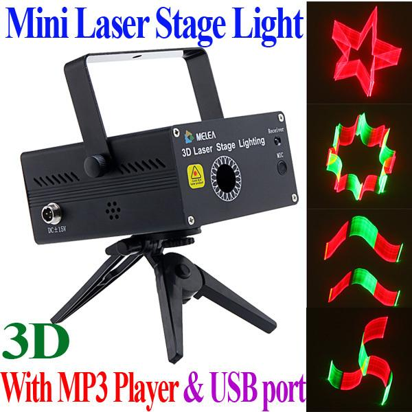 Wholesale-110-240V 3D Animation Mini Laser Stage Light Moving Party DJ Disco stage Lighting Projector with Mp3 Player USB port wholesale