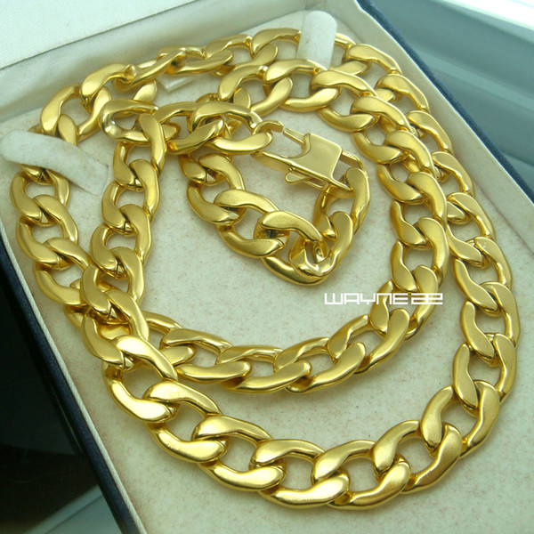 n293-Best Gift Men Gold Tone Stainless Steel Necklace Chain 50cm 60cm/70cm Length