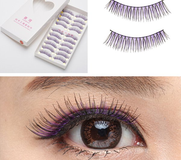 Taiwan pure manual false eyelash 026 purple & black thick style False eyelash Black cotton stalk eyelashes 10box/100pairs/lot