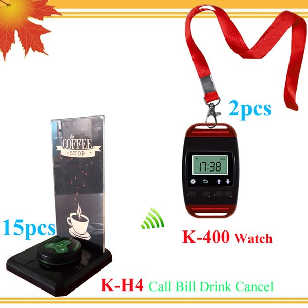 New modern electronic call bell waiter buzzer call pager 2 smart watch with neck rope and 15 table buzzer and 15 menu holder