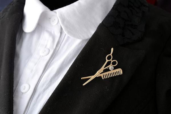 Unisex Mini Scissors Comb Special Zinc Alloy Brooch Rhinestone Decoration Accessory For Women Men Gift Wholesale 12 Pcs