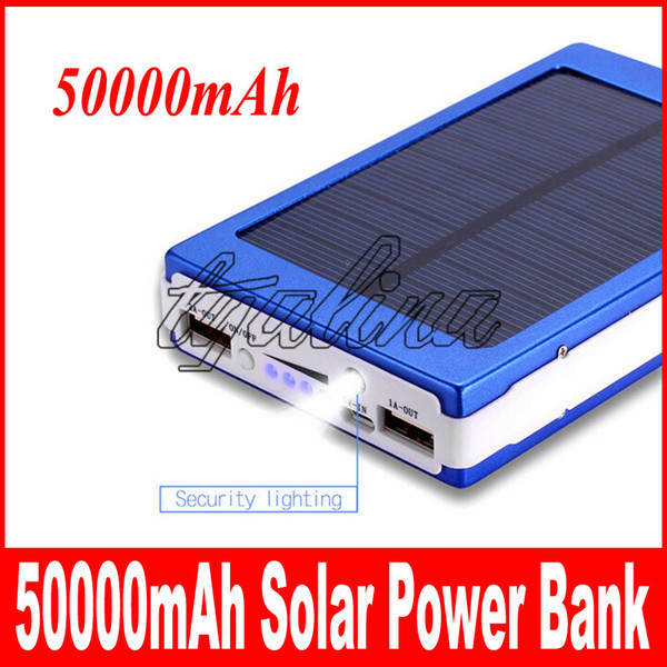 hot sale High quality 50000mAh Solar Power Bank Backup Battery 50000 mAh Solar Charger for GPS MP3 ipad Mobile Phone free shipping