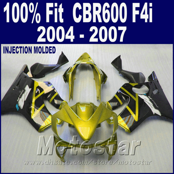 Injection motorcycle parts for HONDA CBR 600 F4i fairings 2004 2005 2006 2007 OEM cbr600 f4i 04 05 06 07 yellow bodyworks HFSW