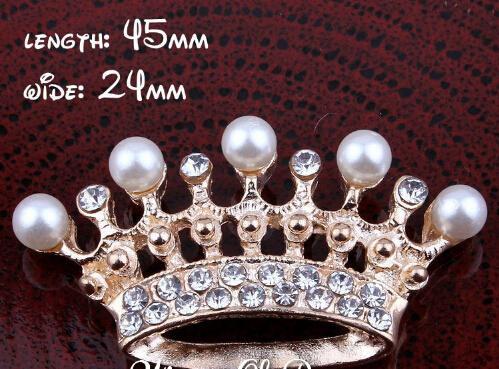 5% weg (60pcs / lot) 2 Farben handgemachte klare Metallrhinestone-Perlen-Krone Bling Legierung Flatback Tiara-Knöpfe für Hochzeits-Verschönerung