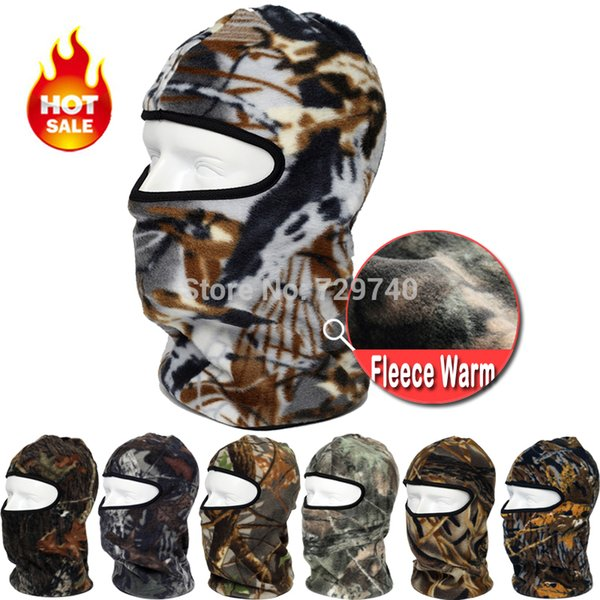 Wholesale-New Camo Motorcycle Thermal Fleece Balaclava Neck Warmer Masks Outdoor Sports Cycling Cap Windproof Winter Ski Full Face Mask
