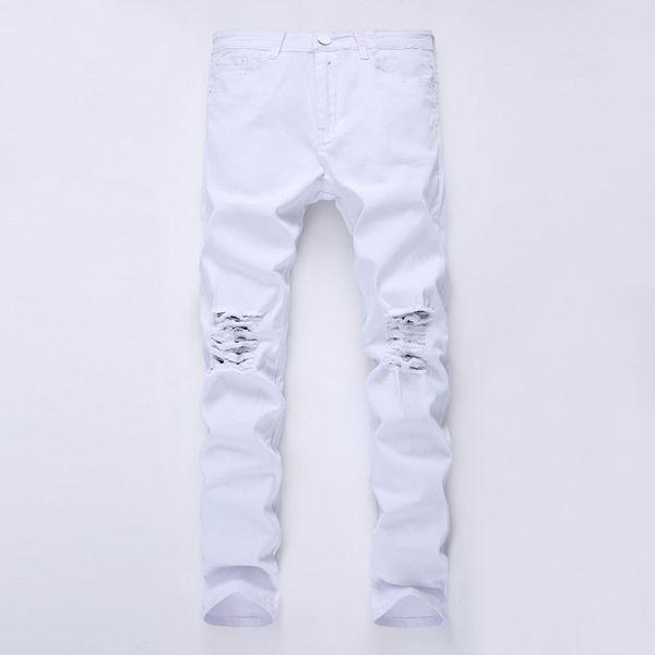 Mens Designer Brand Jeans Noir Skinny Ripped Détruite stretch Slim Fit Hop Hop Pantalon avec trous pour les hommes 27-38