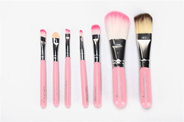 Привет Китти макияж косметические кисти комплект макияж кисти розовый железный корпус/туалетных красоты техника 7pcs/набор на 10 комплектов