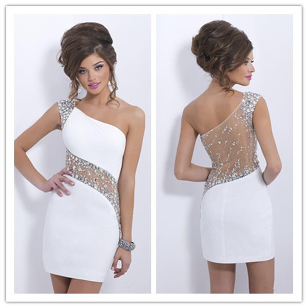 top popular 2019 Elegant Crystals White Cocktail Dresses One Shoulder Short Sheer Back Prom Homecoming Dresses Sexy See Through Back Evening Party Gown 2019