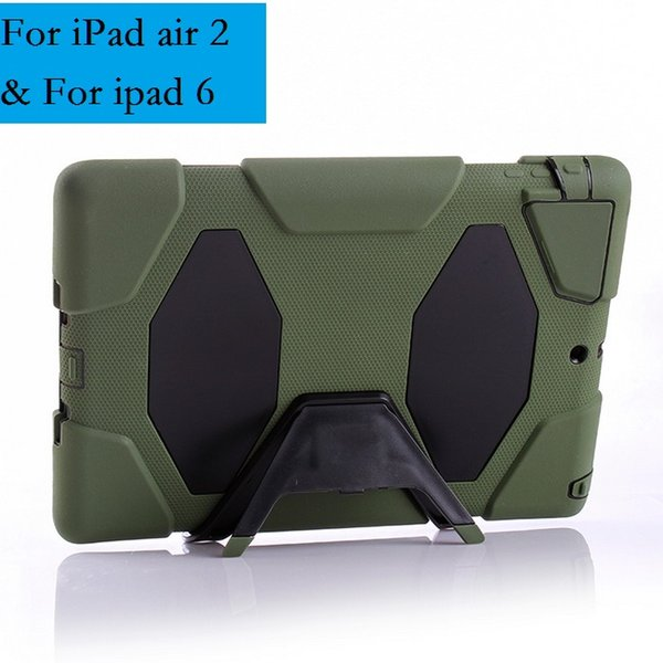 25PCS 3 in 1 Shockproof Heavy Duty Silicon plastic Case For iPad 6 Air 2 Protect Skin Rubber Hybrid Cover Stand Case
