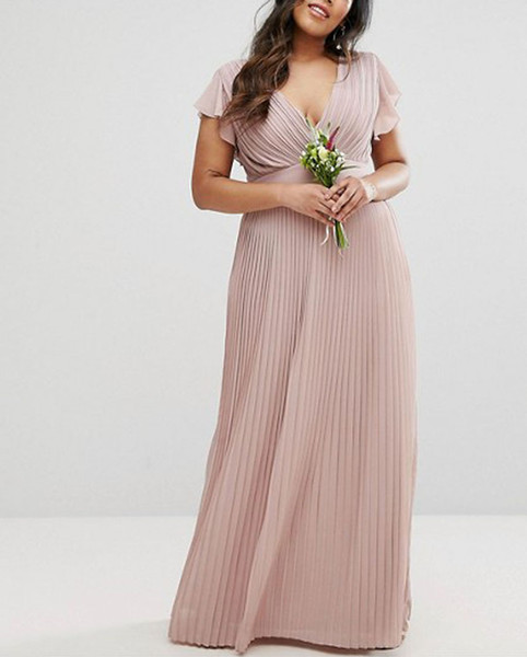 2019 Sexy V-neck Chiffon Women Bridesmaid Dresses Elegant Draped A-line Floor Length Country Style Evening Dress Girls Plus Size Bridal Wear