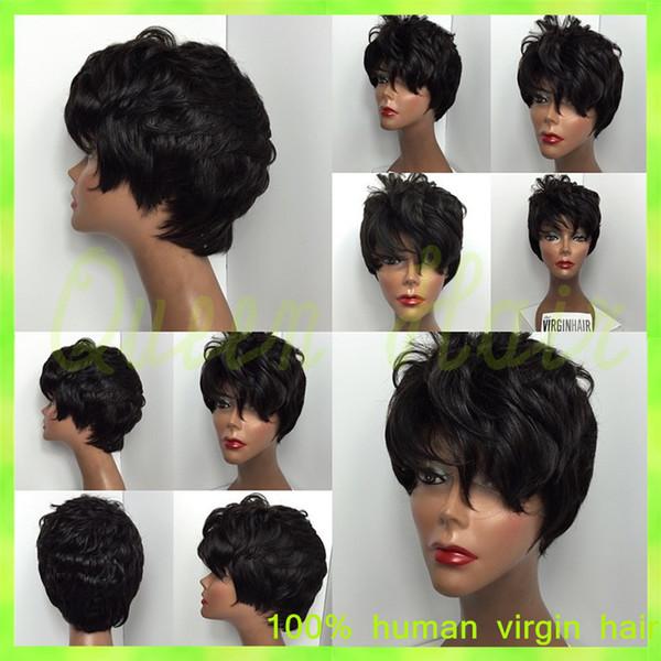 6A Grade Brazilian #1b Virgin Full Lace Human Hair Wigs Blonde Unprocessed Human Hair Glueless Short Straight Bob Full Lace Wig