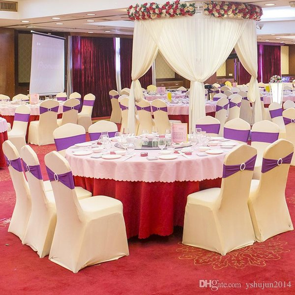 Free Shipping 50pcs Universal White Spandex Wedding Lycra Chair Covers for Wedding Banquet Hotel Decoration Hot Sale Wholesale