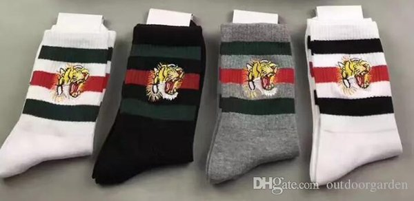 men designer socks tiger head embroidered 2 white + 1 balck + 1 grey with original box striped jacquard unisex cotton sport socks 4pairs/box