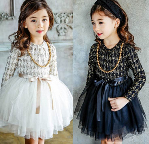 New Autumn Winter Kids Toddlers Girls Dresses gold Dot Bow Necklace Free Party Princess Dress Girl Clothing Kids Clothes