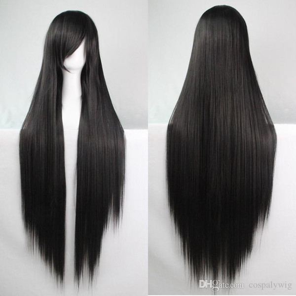 WoodFestival 100 cm harajuku cosplay wig young long straight synthetic hair wigs bangs white black blonde green costume party wigs for women