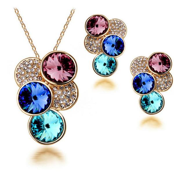 Vorzüglicher Kristallschmucksache-Satz-elegantes Entwurfsrhinestone-Brautschmucksachen stellt guten Ohrring und Halsketten-Sätze online 2618 ein