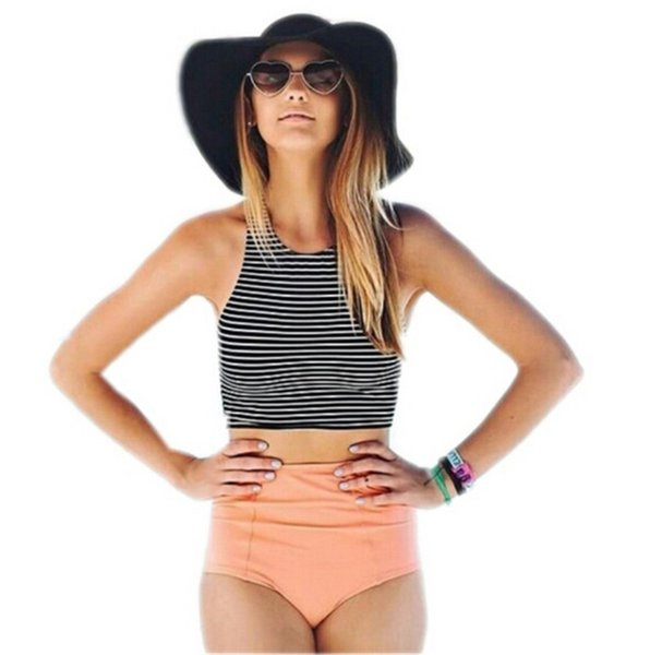 Free DHL Women Bikini Set Sport Tank Striped Top + High Waisted Pink Orange Bottom Summer high waist swimwear Swimsuits