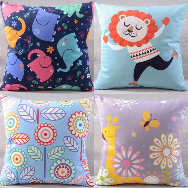 Kindergarten Cartoon Lion Elephant Giraffe Floral Flower Butterfly Cushion Cover Pillow Case Velvet Cushions Pillows Covers Present For Kids