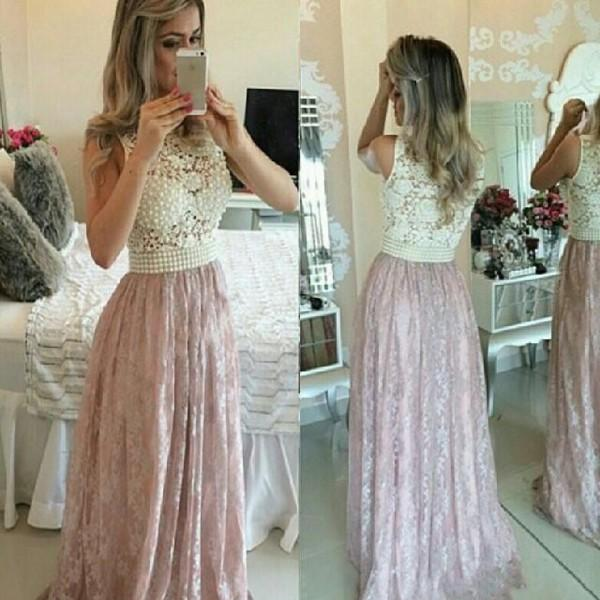 2015 Pink Lace Prom Dresses with Pearls Sexy See Through Ball Gowns Illusion Neck Formal Evening Dresses for Wedding Event Plus Size