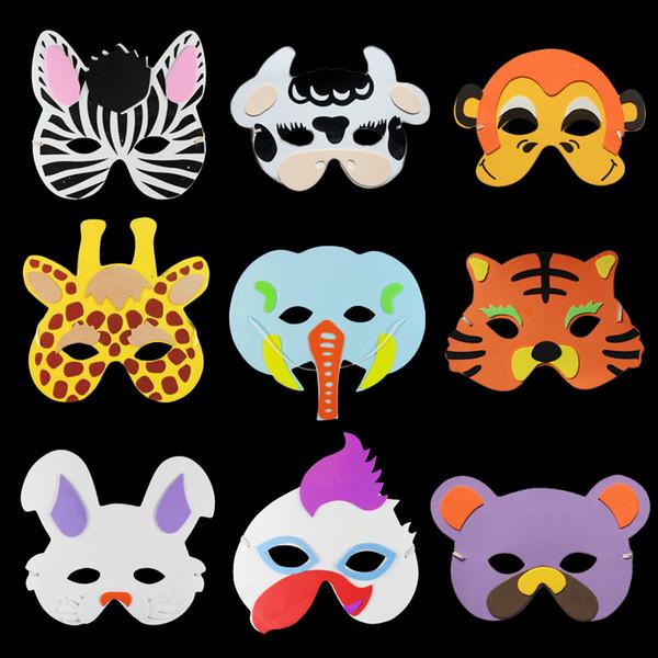 Animales de dibujos animados Niños Cosplay Máscara Media Cara Color de EVA Máscara de los niños encantadores Suministros de la fiesta de cumpleaños regalo festivo favores 100 unids / lote SD416