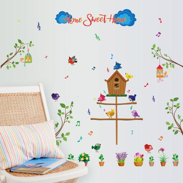 baum vogel süße net wandaufkleber für kinderzimmer babyzimmer kinderzimmer schlafzimmer wohnzimmer wohnkultur wandtattoos wandmalereien