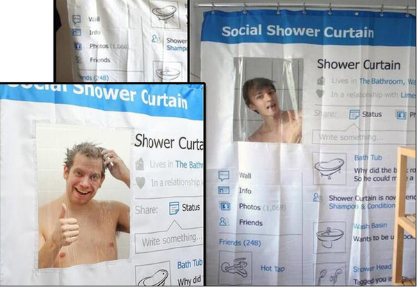 New Brand Cool Facebook Social Bath Shower Curtain Waterproof Prevent Mildew Halloween Fabric Curtains For The Bathroom