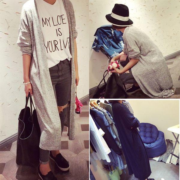 Atacado-2015 mulheres camisola Cardigan Mulheres casual cinza doce preto Crochet Blusa de malha de manga comprida Tops Mulheres longo Cardigan Sweaters