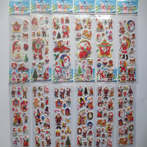 best selling 2015 Newest Christmas 3D Cartoon Sticker Santa Claus Wall Stickers Christmas Tree Snowman gift Paster Kindergarten Reward