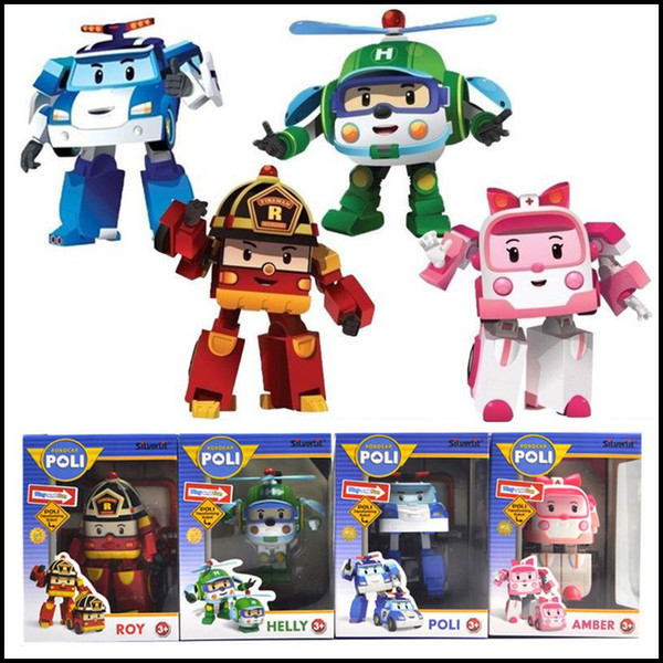 2015 дети ROBOCAR Поли пузырь фигурку игрушки 4 шт. / лот корейский аниме преобразования Роберт куклы J061801# DHL