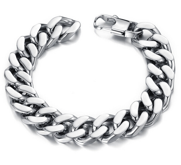 best selling 10 12 14mm Curb Cuban Stainless Steel Bracelet Mens Chain Clasp Link Bracelets Silver Tone Jewelry Gift Promotion