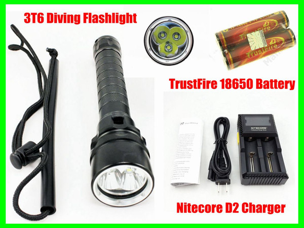 Waterproof 3T6 LED Diving Flashlight Torch Underwater 100M 4000 Lumen + 2pcs 18650 Battery + D2 Charger Free Shipping