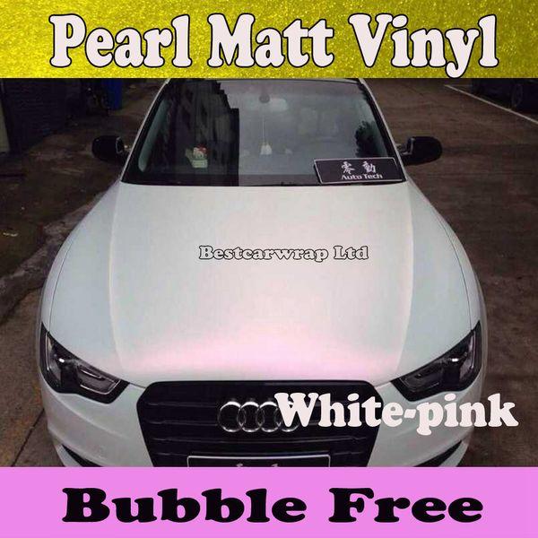 Satin Matte Pearl White Matt Vinyl Wrap White pink Pearlescent white Matte Film Car Wrapping Foil Sticker Vehicle Styling Size:1.52*20M/Roll