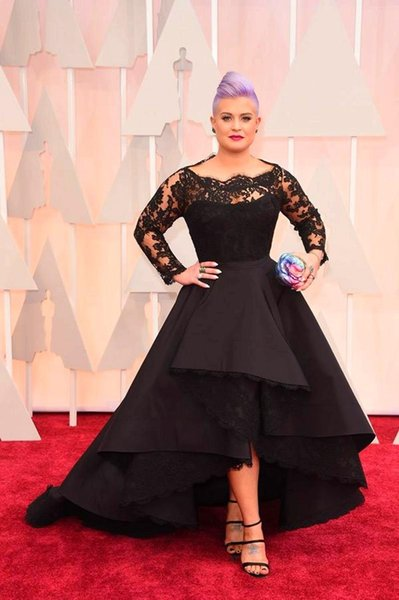 top popular Oscar Kelly Osbourne Celebrity Dress Long Sleeve Black Lace Applique High Low Red Carpet Evening Dresses A line Prom Dress 2019