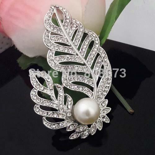 (Mini Auftrag 5 USD) 3 Zoll große Vintage Rhodium Silber Ton österreichischen Kristall Faux Perle Blatt Brosche Frauen Kostüm Pin Broschen