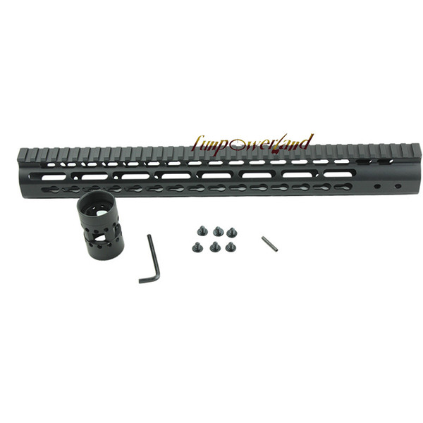 Funpowerland Black Float NSR 15 pollici Handguard One-piece Top Rail System KeyMod Alta qualità Lightest per AR-15 M4 M16