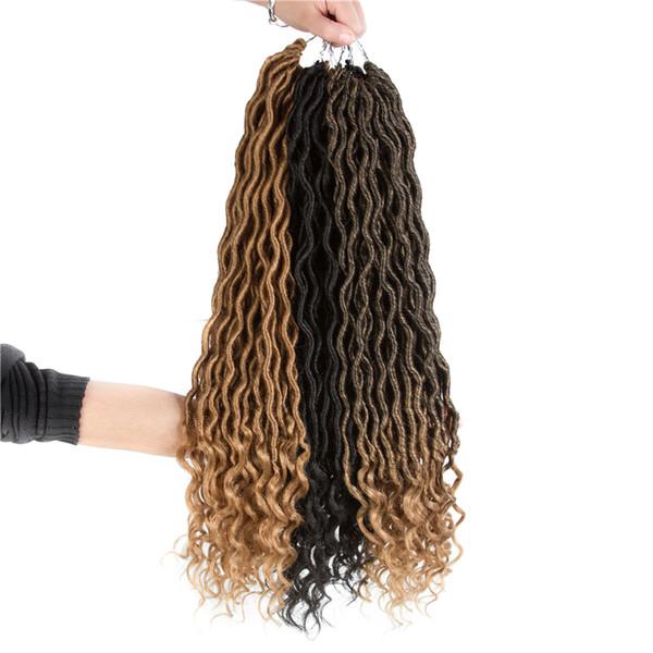 Mtmei Hair 10Packs/Lot Synthetic Goddess Locs Crochet Hair Extensions Low Temperature Fiber Crochet Braids Bulk Hair