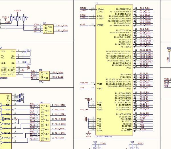 LPC2131 development board schematic lpc2131 ARM development board MAX3243 SP3232E 74HC595 CAT1025 SPX1117M3 LED