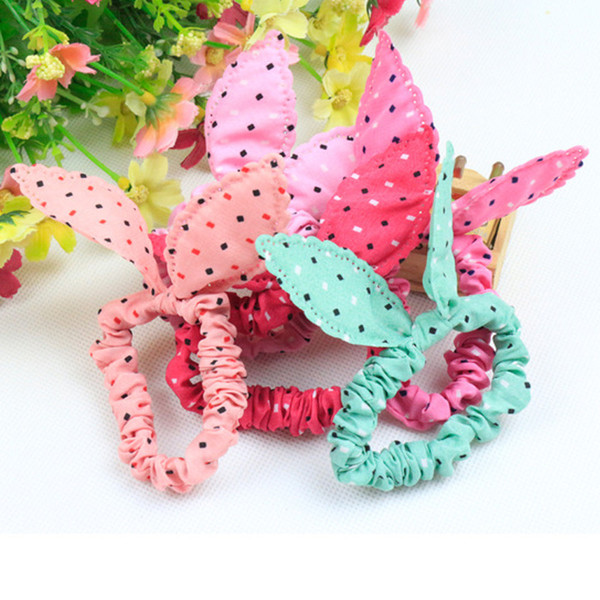 New Cloth Fabric Polka Dot Bunny Ear Hair Accessories Kids Elastic Bands/ Hair Ropes/Baby Girls' Rubber Band Hair Rope Ring
