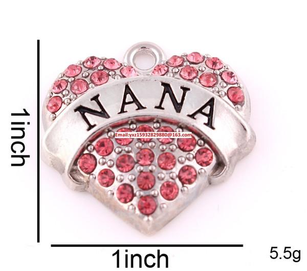 Dimensioni 1 pollice * 1 pollice Nuovo elenco 50pcs molto spedizione gratuita zinco tempestato di cristalli rosa scintillanti NANA Pendente a cuore (P500120)