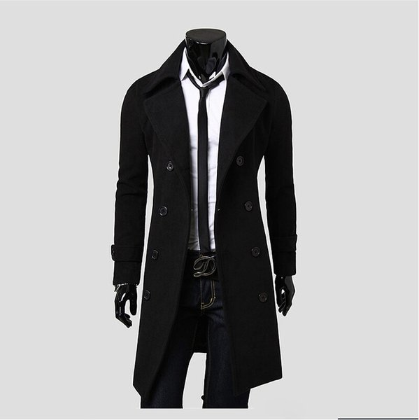 Fall-Winter British Style Trench Coat Men Long Double-breasted Men's Jackets Brand Outdoors Overcoat Black Free Shipping