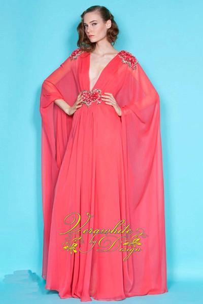 2016 Venta Caliente Vestidos de Noche Árabes Dubai Fancy Kaftan Pink Chiffon Poet Sleeves Con Cuentas Musulmanas Mujeres Vestido Largo Árabe Abaya Vestidos de Fiesta