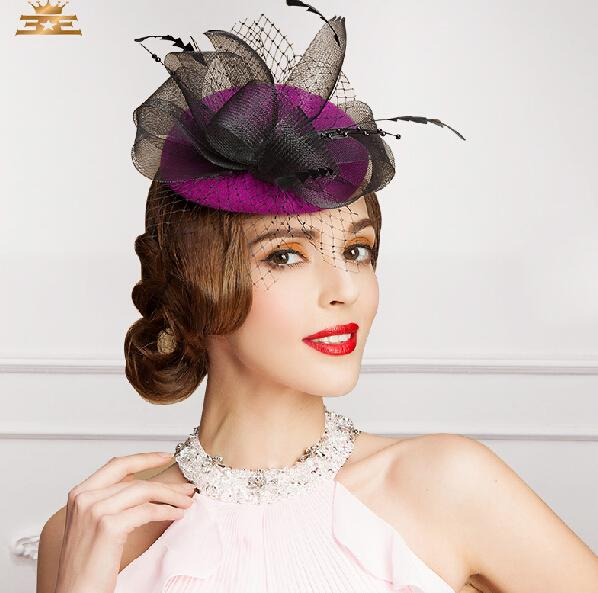 best selling Free Shipping New Design Purple Black Vintage Hat Birdcage Head Veils Wedding Bridal Accessories 2015 Party Women Hats Black Bride Hat S-115