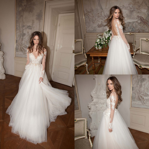 2015 Fall Berta Wedding Dress Boat Neck Backless Long Sleeves A-Line Appliques Lace On Top Pearl Beaded Tulle Sweep Train Beach Wedding Gown