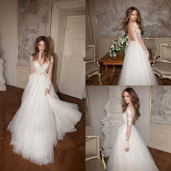 2015 automne Berta robe de mariée col bateau dos nu manches longues A-line appliques dentelle sur le dessus de perle perlée tulle balayage train robe de mariage de plage